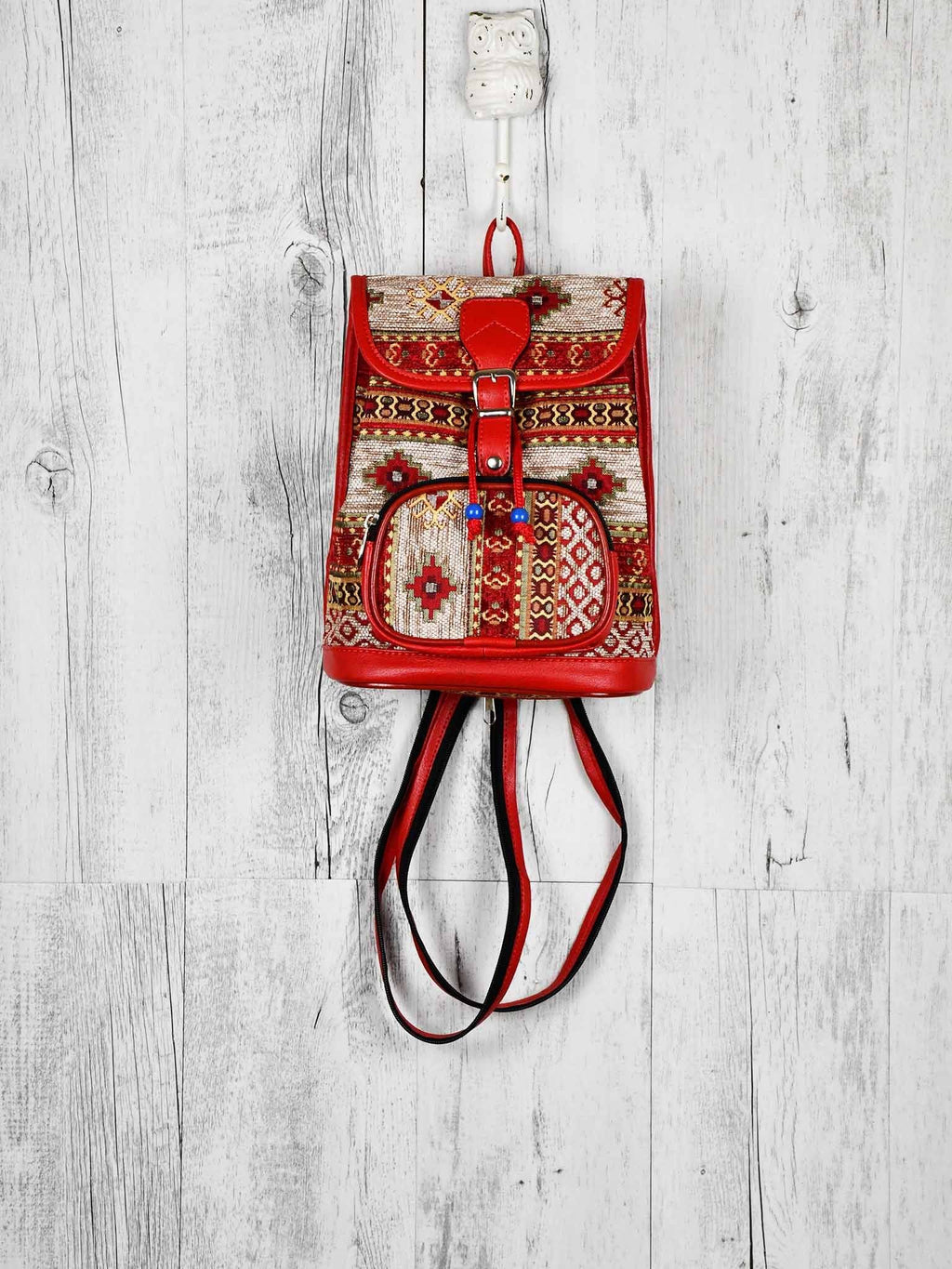 Turkish Handbag Backpack Aztec Red White Textile Sydney Grand Bazaar