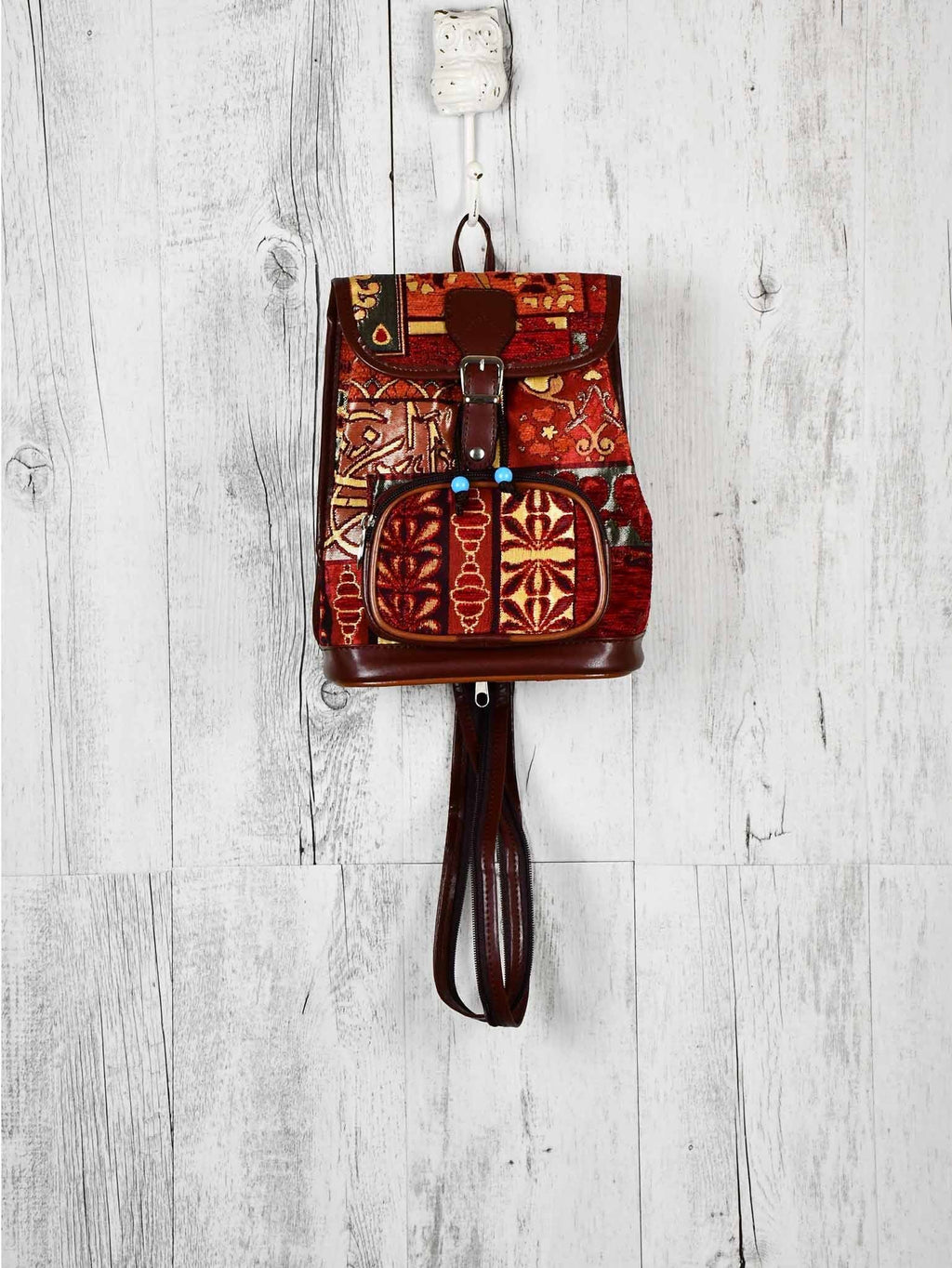 Turkish Handbag Backpack Patchwork Red Rusty Textile Sydney Grand Bazaar