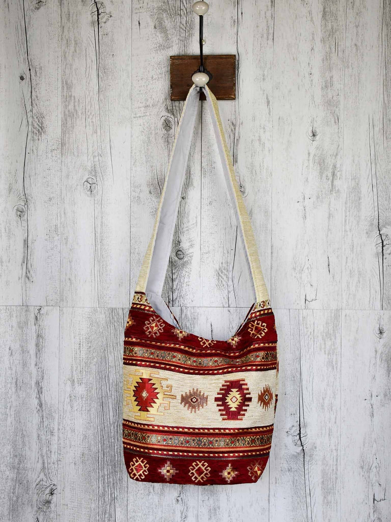 Turkish Handbag Shoulder Aztec Red Beige Textile Sydney Grand Bazaar