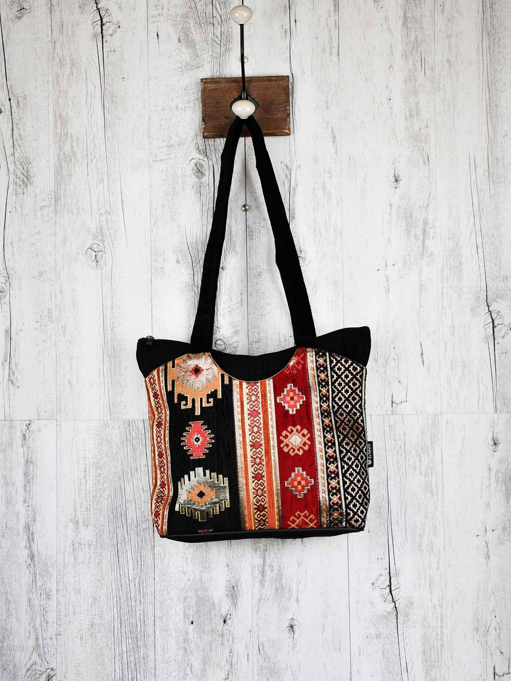Turkish Handbag Tote Aztec Black Red Textile Sydney Grand Bazaar