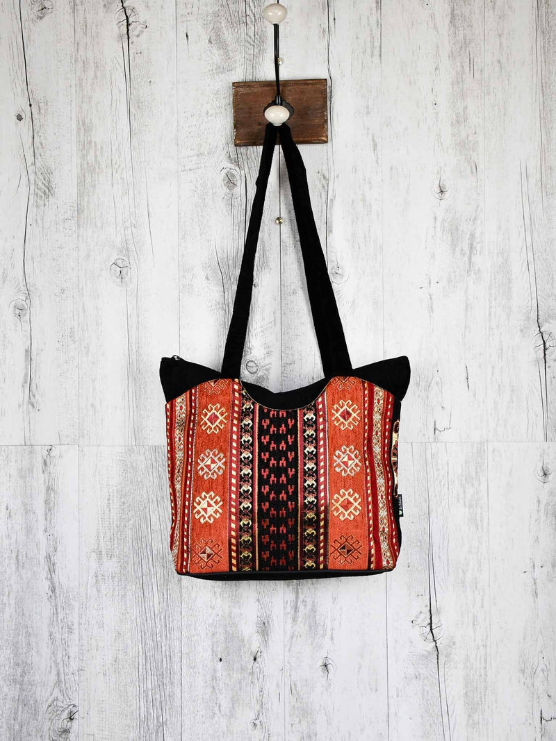Turkish Handbag Tote Aztec Black Rusty Textile Sydney Grand Bazaar