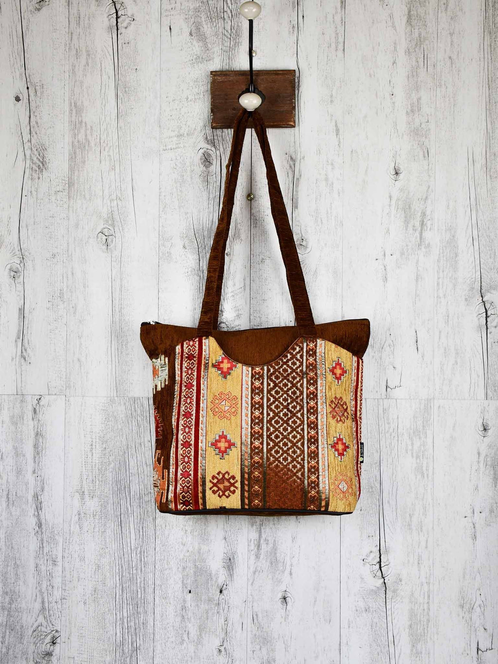 Turkish Handbag Tote Aztec Brown Textile Sydney Grand Bazaar