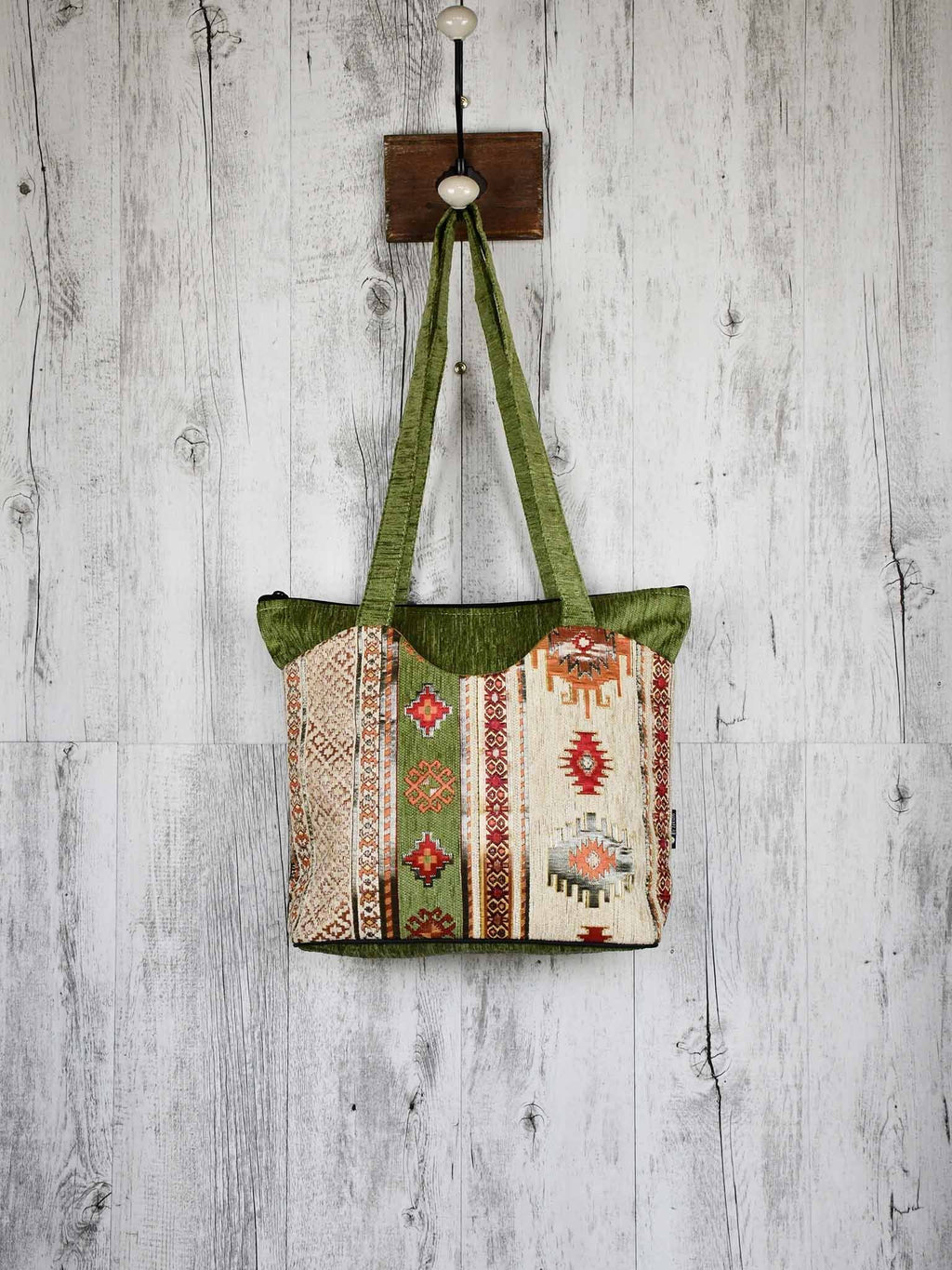 Turkish Handbag Tote Aztec Green Beige Textile Sydney Grand Bazaar