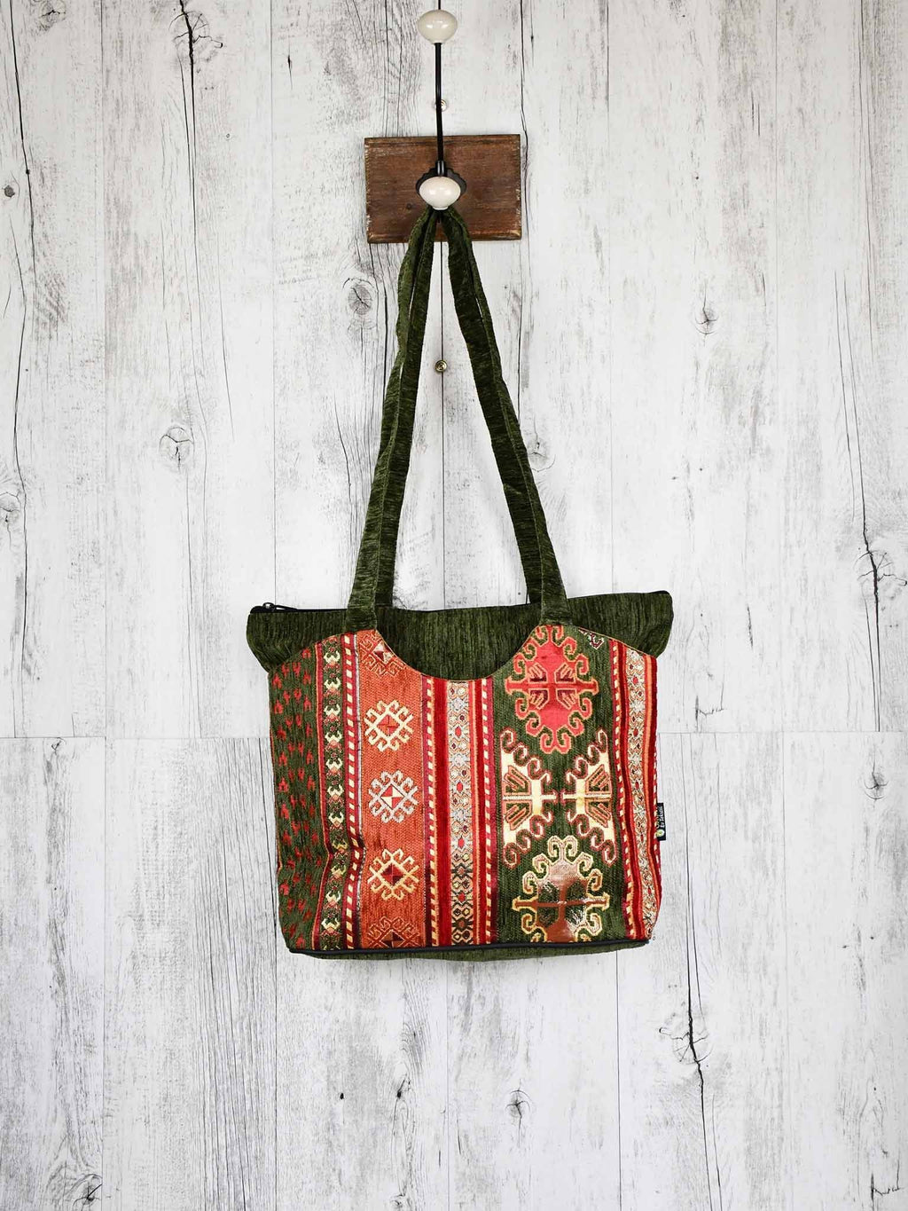 Turkish Handbag Tote Aztec Green Rusty Textile Sydney Grand Bazaar