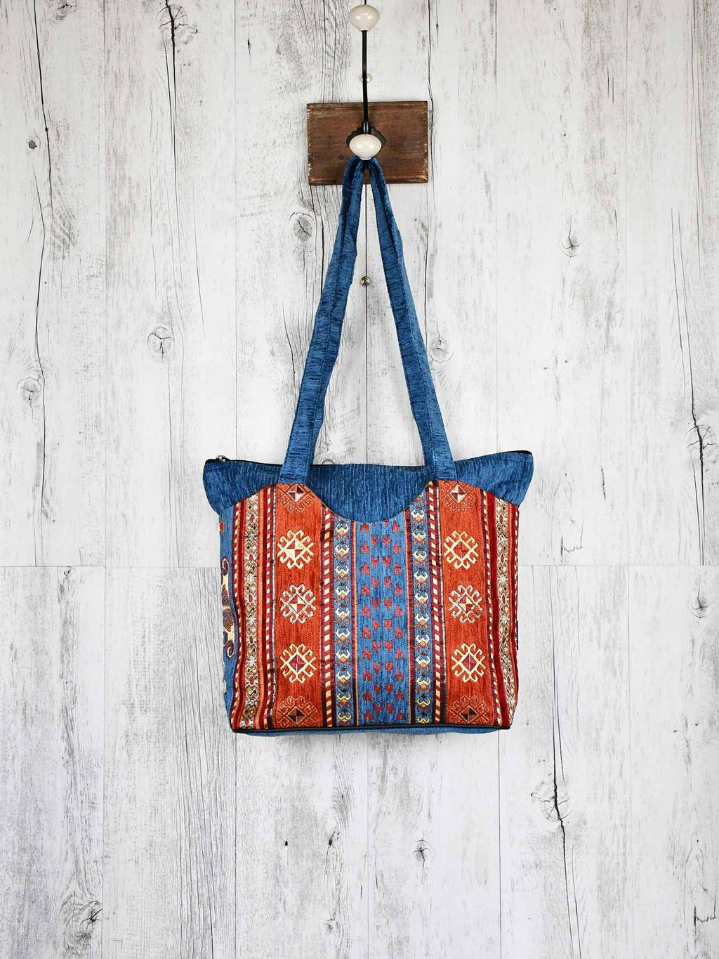 Turkish Handbag Tote Aztec Light Blue Rusty Textile Sydney Grand Bazaar