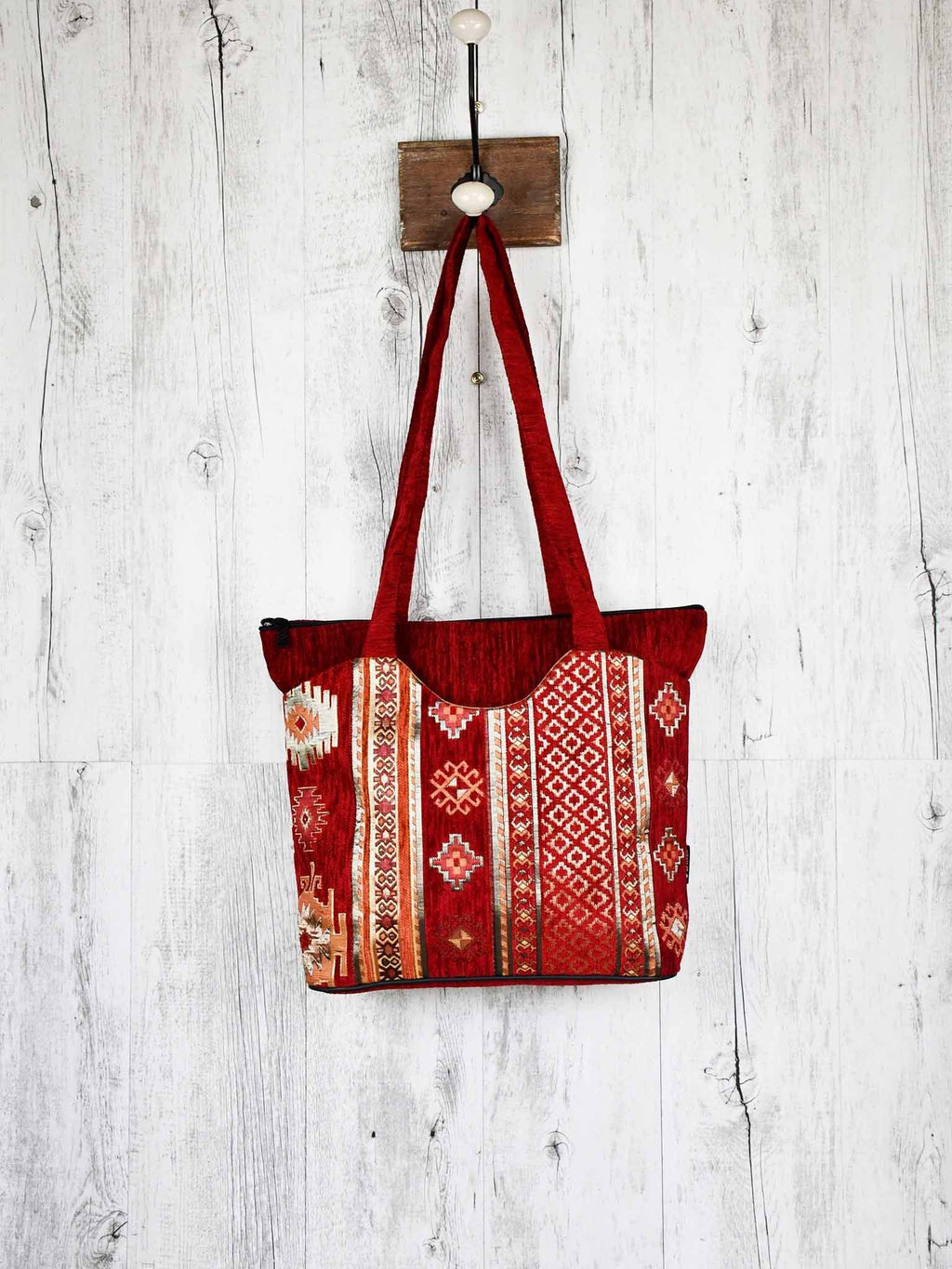 Turkish Handbag Tote Aztec Red Textile Sydney Grand Bazaar