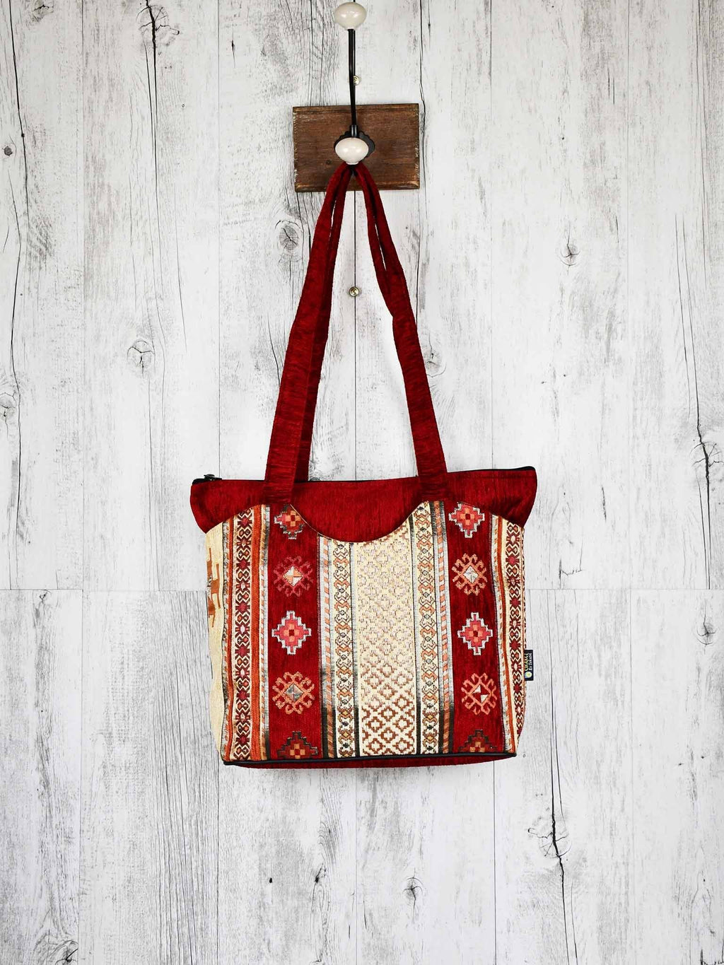 Turkish Handbag Tote Aztec Red Beige Textile Sydney Grand Bazaar