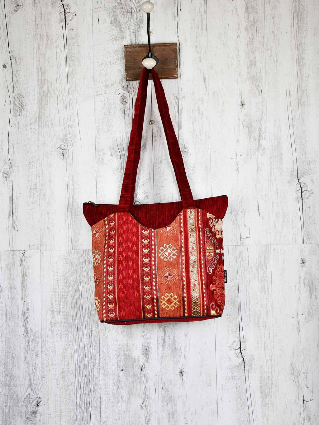 Turkish Handbag Tote Aztec Red Rusty Textile Sydney Grand Bazaar