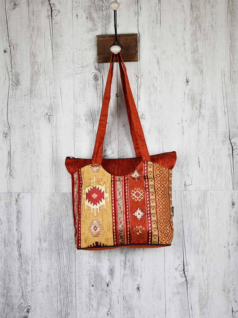 Turkish Handbag Tote Aztec Rusty Orange Textile Sydney Grand Bazaar