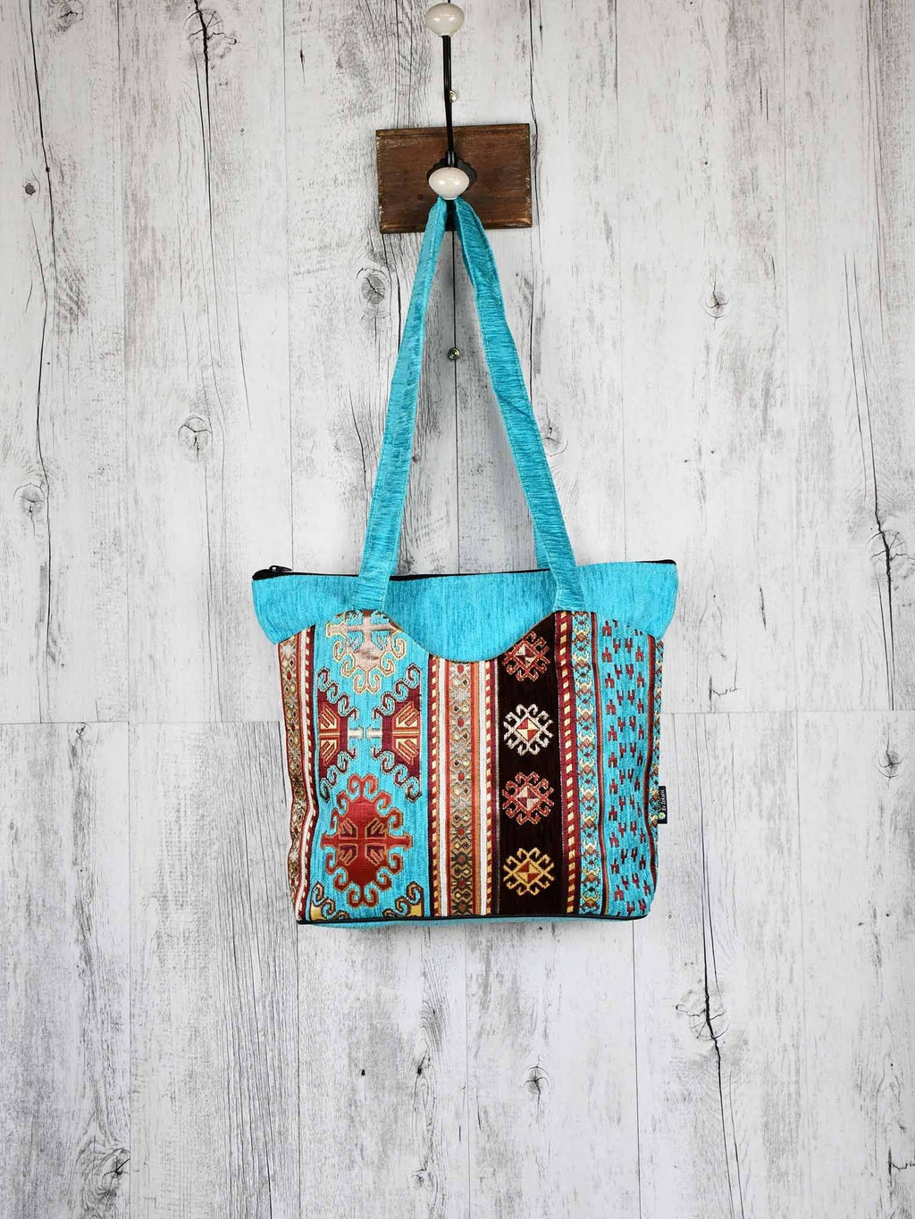 Turkish Handbag Tote Aztec Turquoise Brown Textile Sydney Grand Bazaar
