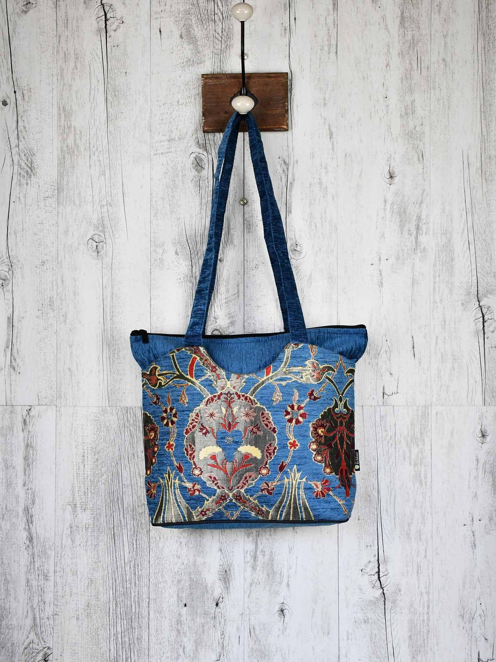 Turkish Handbag Tote Flower Light Blue Textile Sydney Grand Bazaar