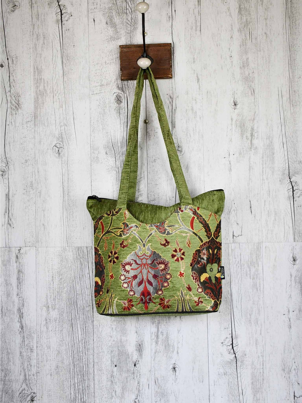 Turkish Handbag Tote Flower Light Green Textile Sydney Grand Bazaar