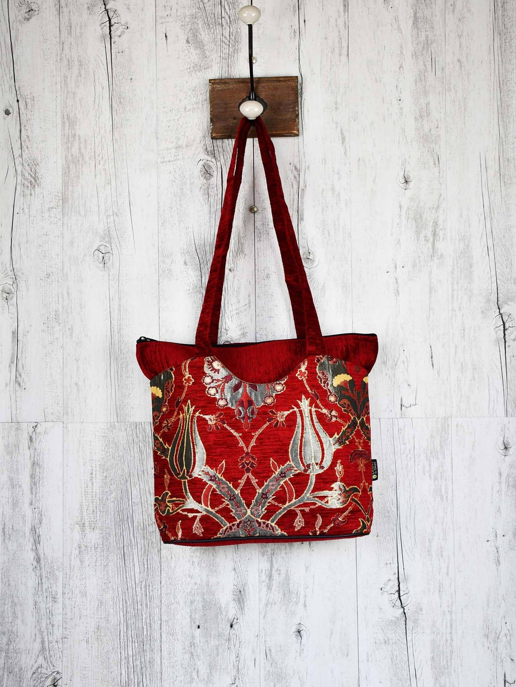 Turkish Handbag Tote Flower Red Textile Sydney Grand Bazaar