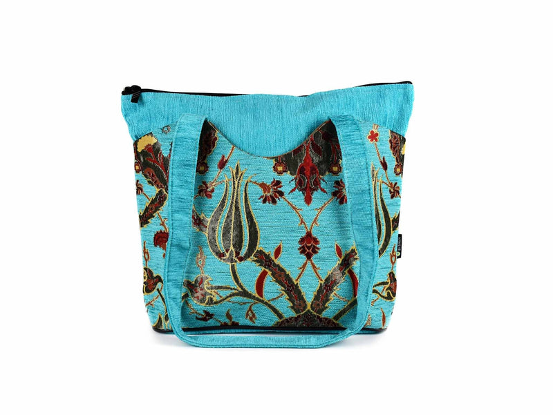 Turkish Handbag Tote Flower Turquoise Textile Sydney Grand Bazaar