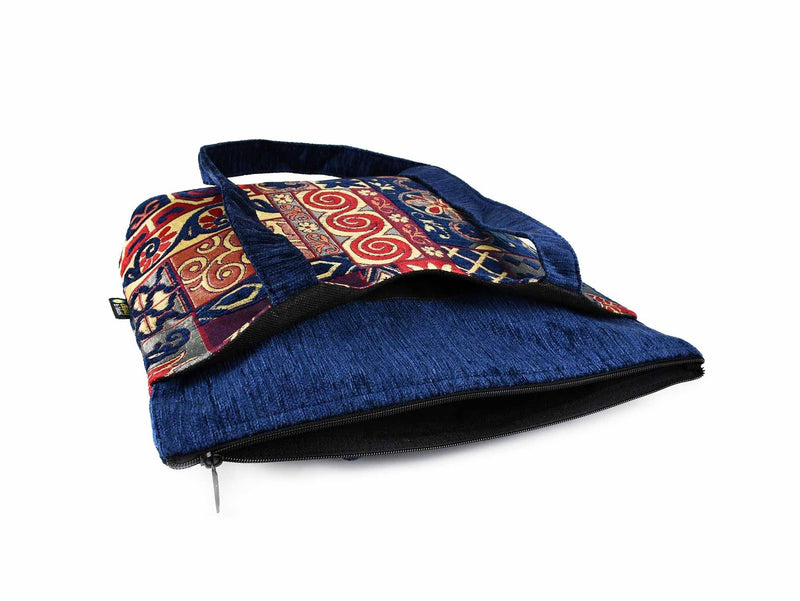 Turkish Handbag Tote Patchwork Blue Red Textile Sydney Grand Bazaar