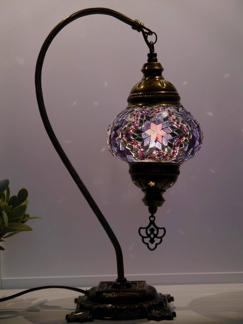 Turkish Lamp Hanging Purple Pink Mosaic Star Lighting Sydney Grand Bazaar