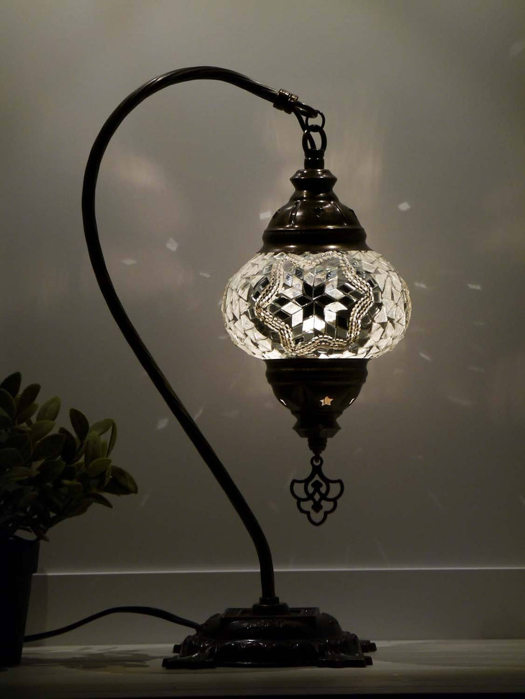 Turkish Lamp Hanging White Round Mosaic Star Lighting Sydney Grand Bazaar