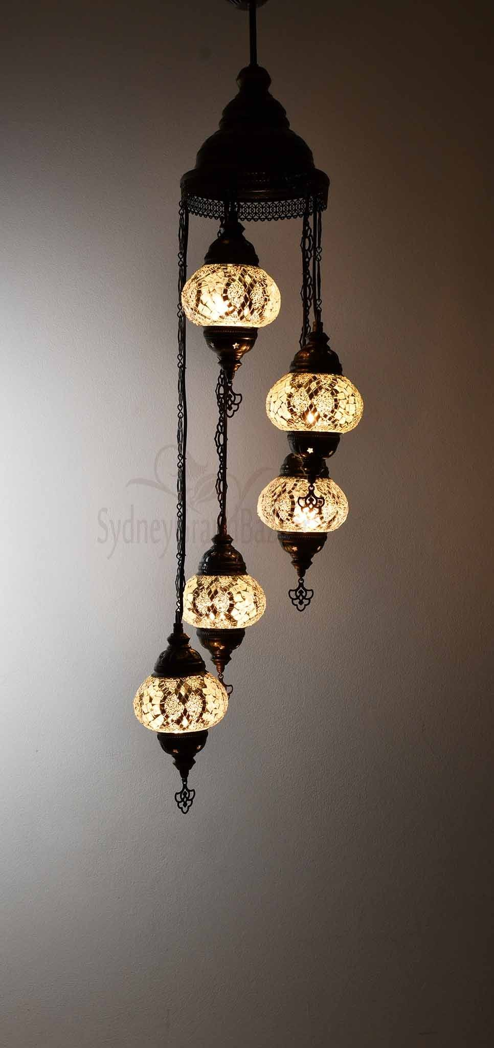 Turkish Mosaic Pendant Light 5 Globes Lighting Sydney Grand Bazaar White