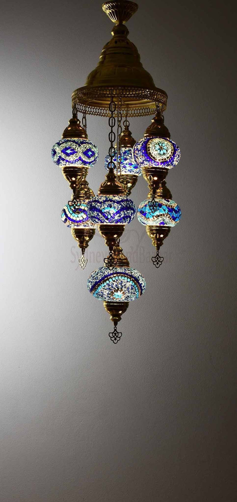 Turkish Mosaic Pendant Light 7 Globes in Gold Lighting Sydney Grand Bazaar Blue