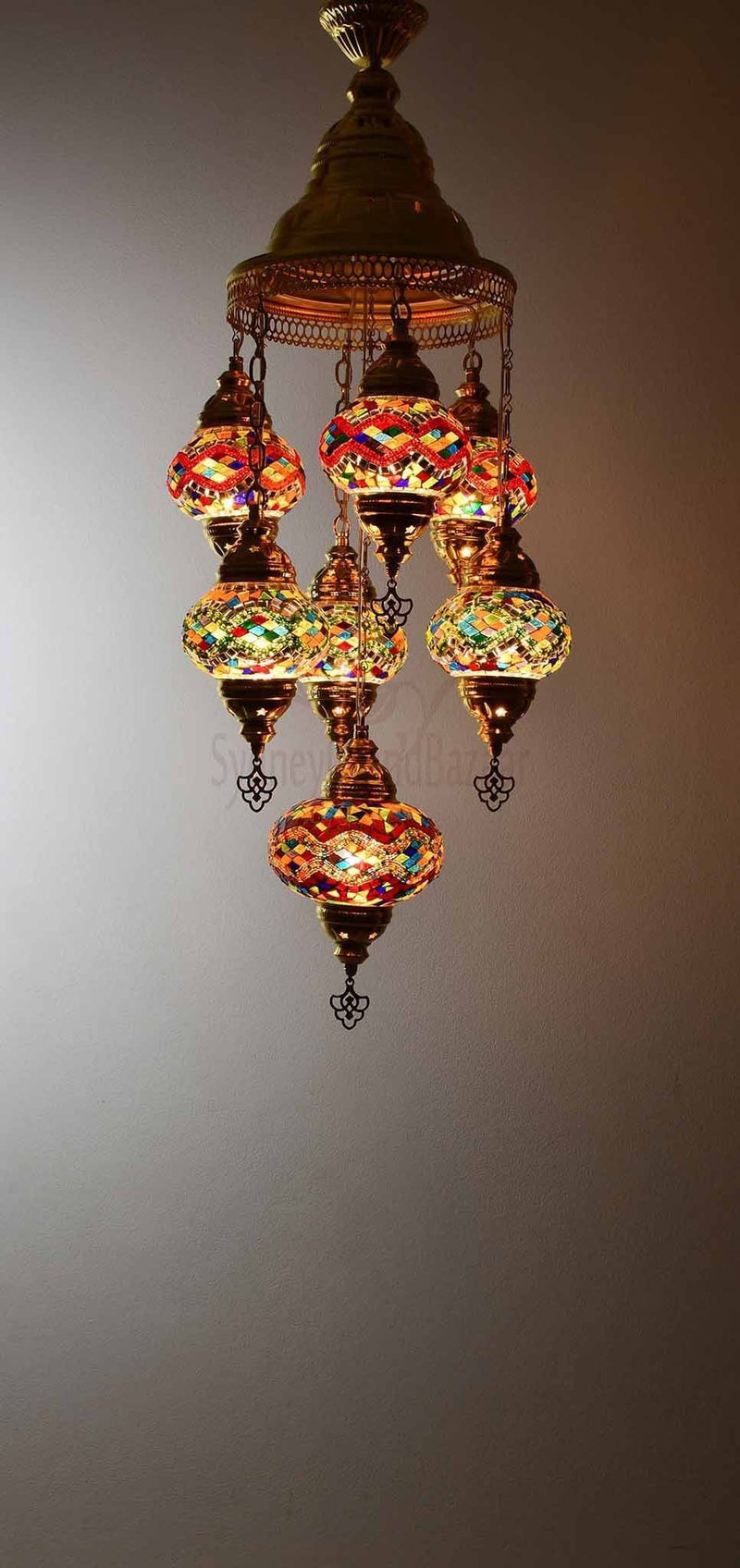 Turkish Mosaic Pendant Light 7 Globes in Gold Lighting Sydney Grand Bazaar Multicolour 3