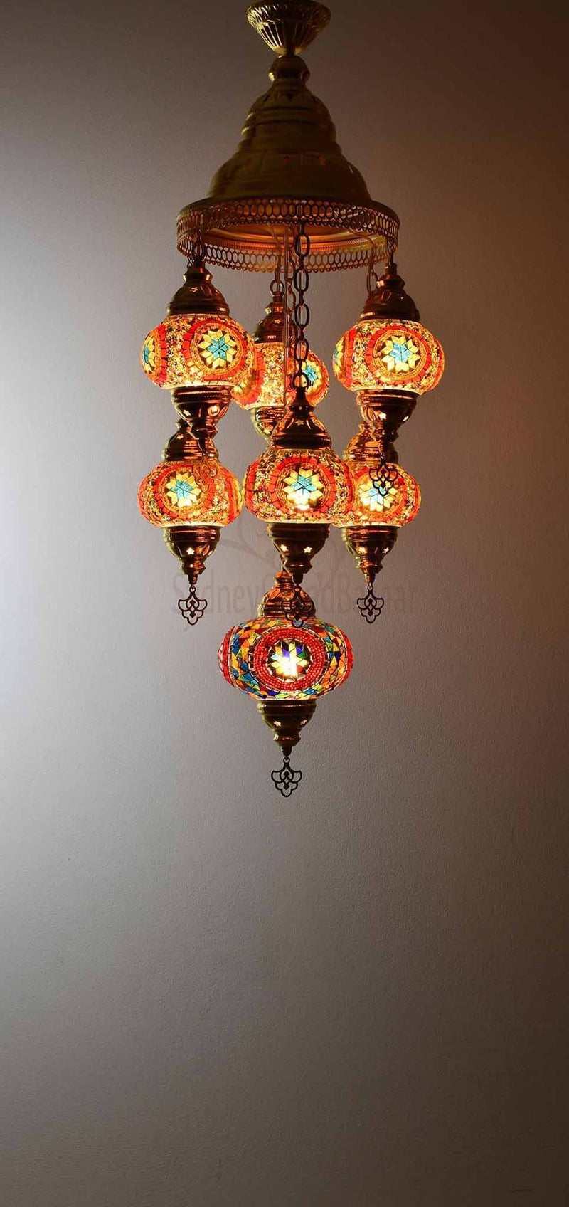 Turkish Mosaic Pendant Light 7 Globes in Gold Lighting Sydney Grand Bazaar Multicolour 1