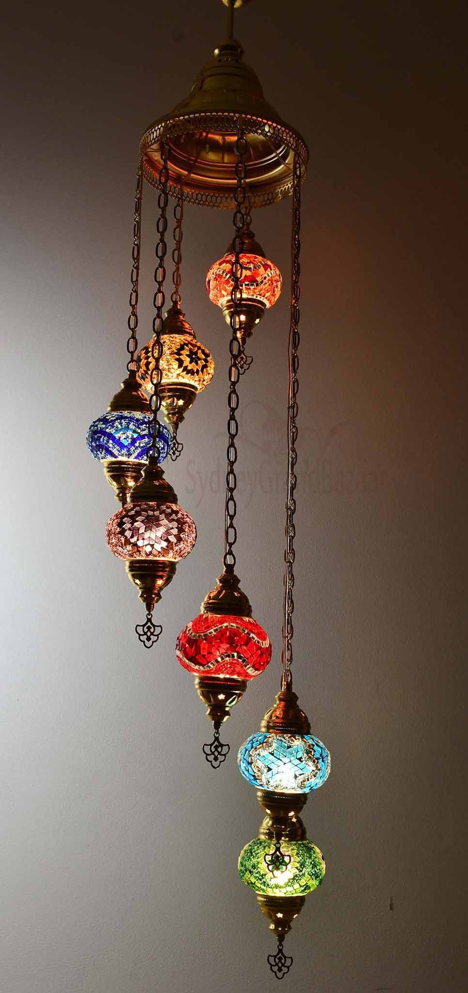 Turkish Mosaic Pendant Light 7 Globes in Gold Lighting Sydney Grand Bazaar Multicoloured 1