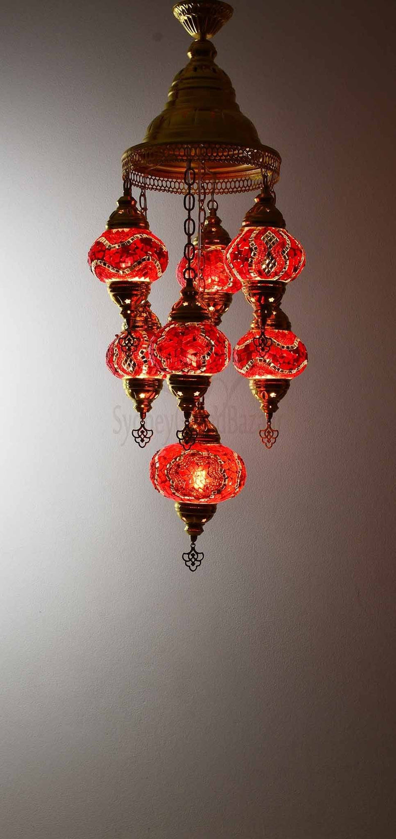 Turkish Mosaic Pendant Light 7 Globes in Gold Lighting Sydney Grand Bazaar Red