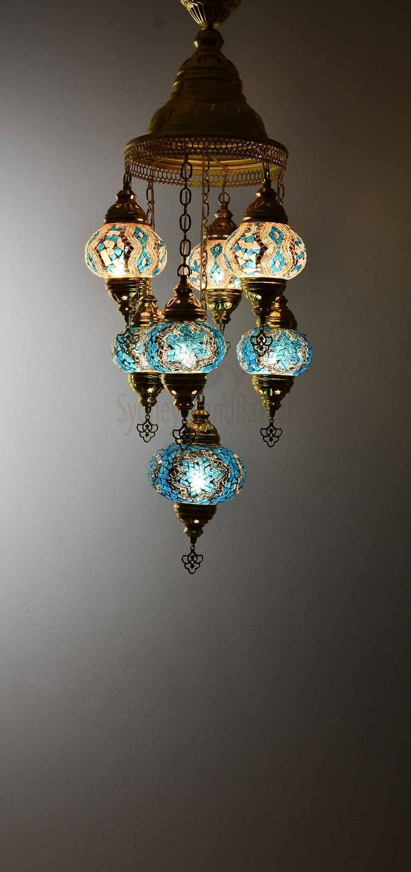 Turkish Mosaic Pendant Light 7 Globes in Gold Lighting Sydney Grand Bazaar Turquoise