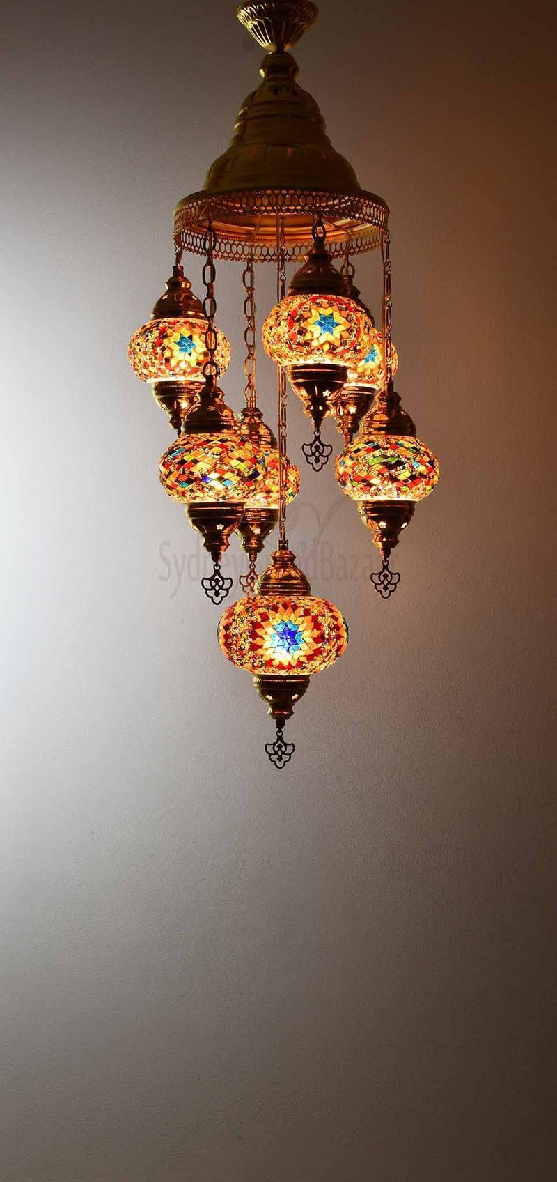 Turkish Mosaic Pendant Light 7 Globes in Gold Lighting Sydney Grand Bazaar Multicolour 5