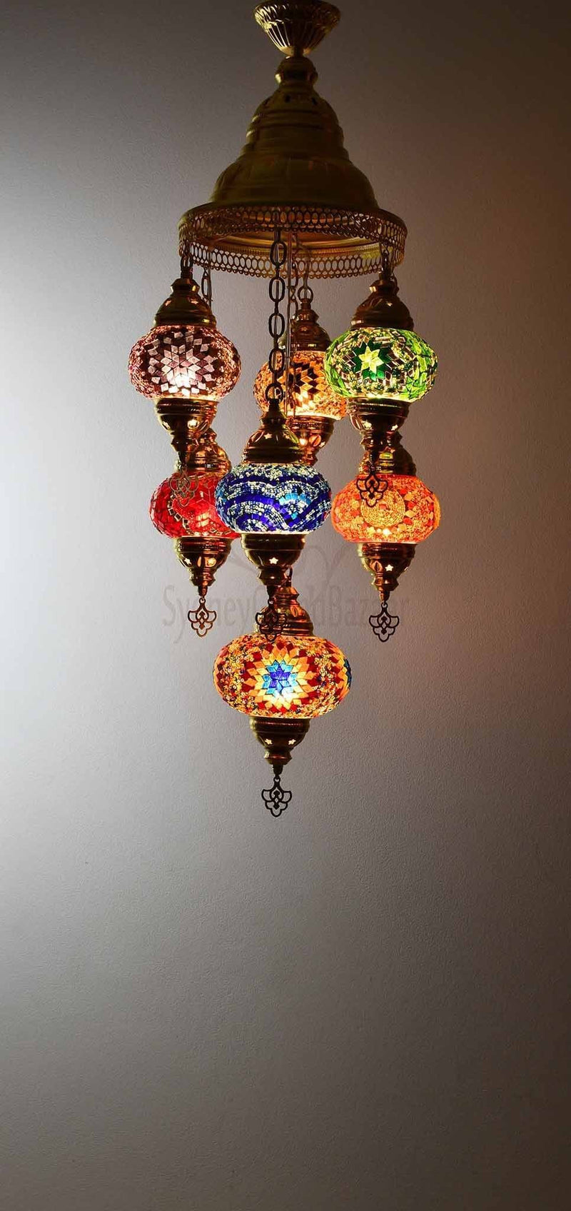 Turkish Mosaic Pendant Light 7 Globes in Gold Lighting Sydney Grand Bazaar Mixed