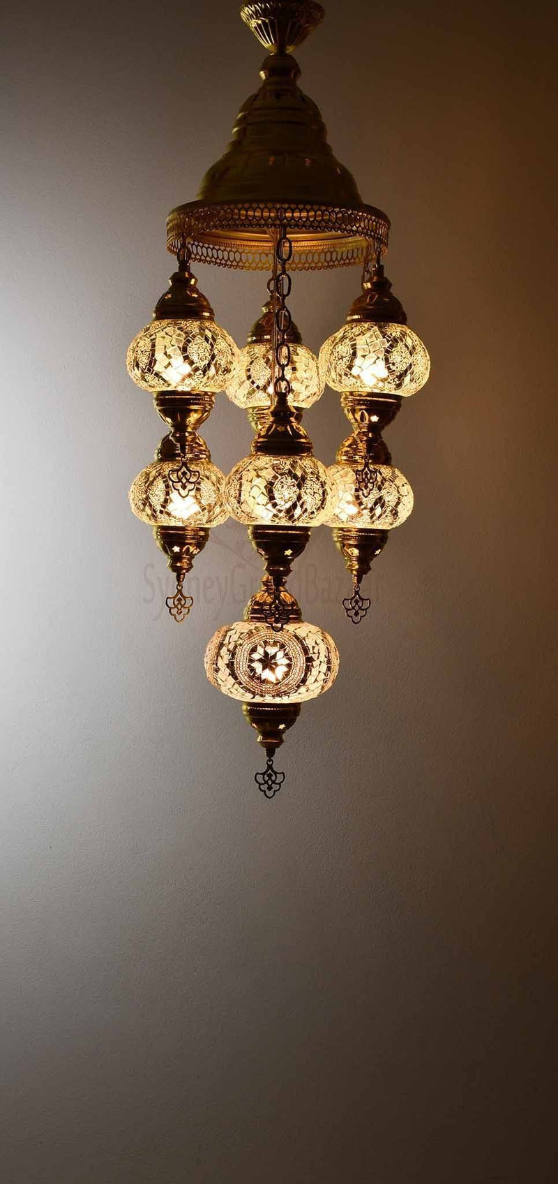 Turkish Mosaic Pendant Light 7 Globes in Gold Lighting Sydney Grand Bazaar Clear white