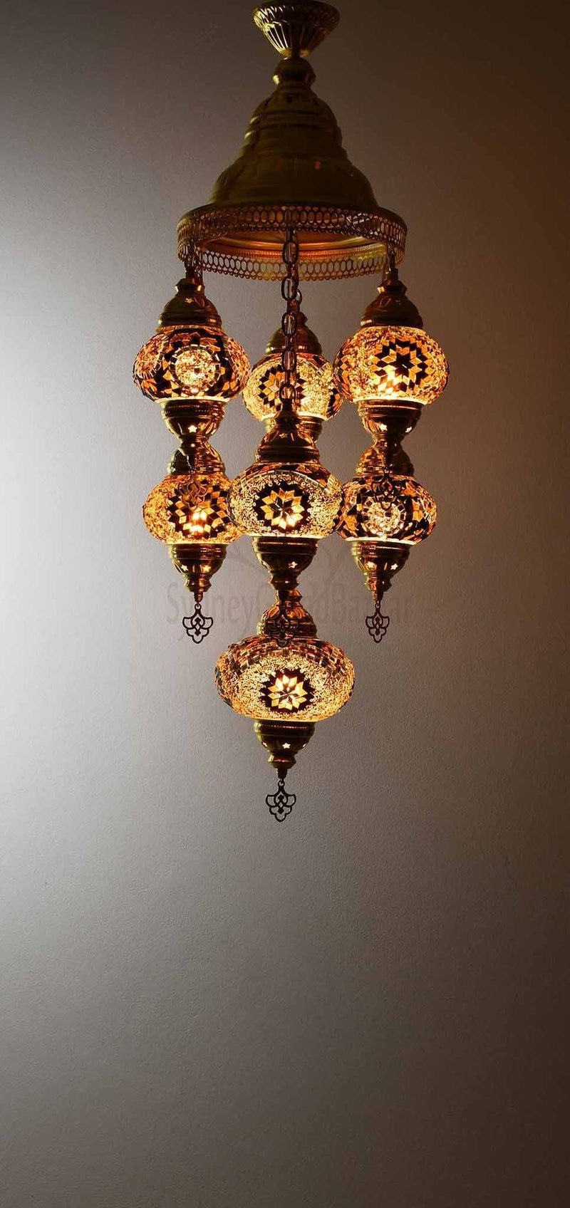 Turkish Mosaic Pendant Light 7 Globes in Gold Lighting Sydney Grand Bazaar Golden brown