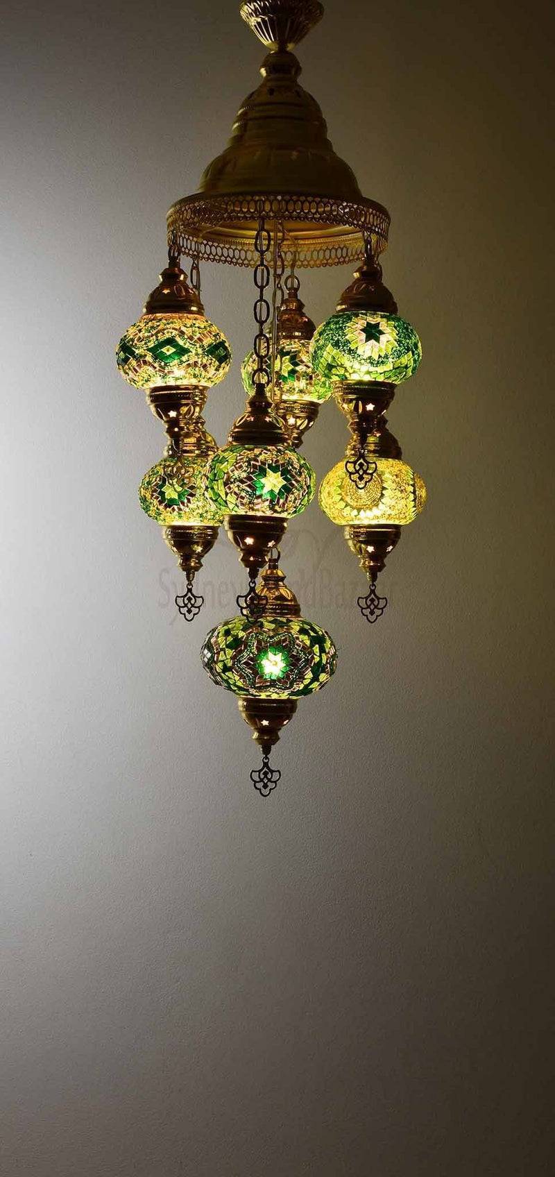 Turkish Mosaic Pendant Light 7 Globes in Gold Lighting Sydney Grand Bazaar Green
