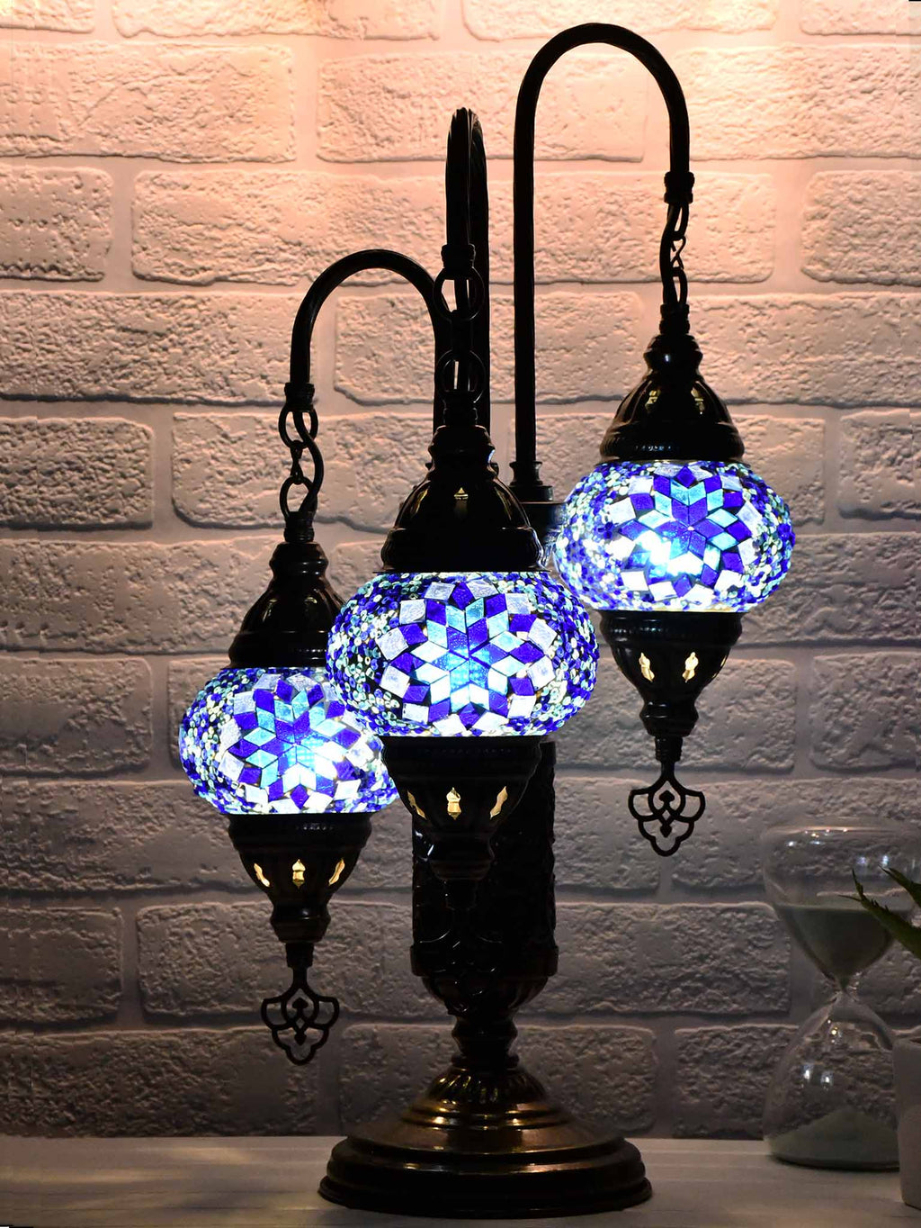 Turkish Mosaic Table Lamp Triple X Small Blue Lighting Sydney Grand Bazaar