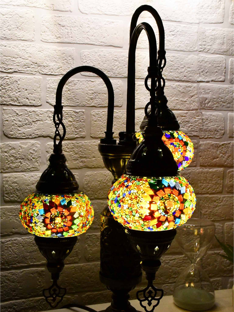 Turkish Mosaic Table Lamp Triple X Small Colourful Circle Beads Lighting Sydney Grand Bazaar