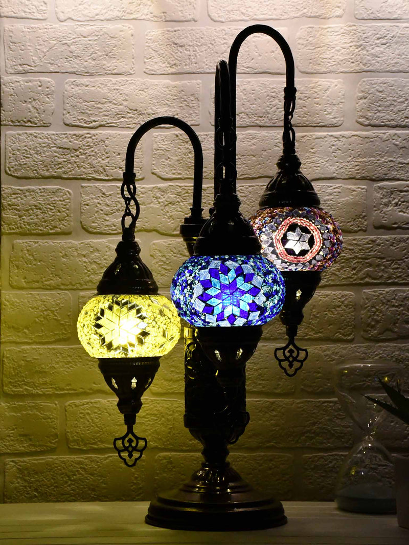 Turkish Mosaic Table Lamp Triple X Small Mixed Design 1 Lighting Sydney Grand Bazaar