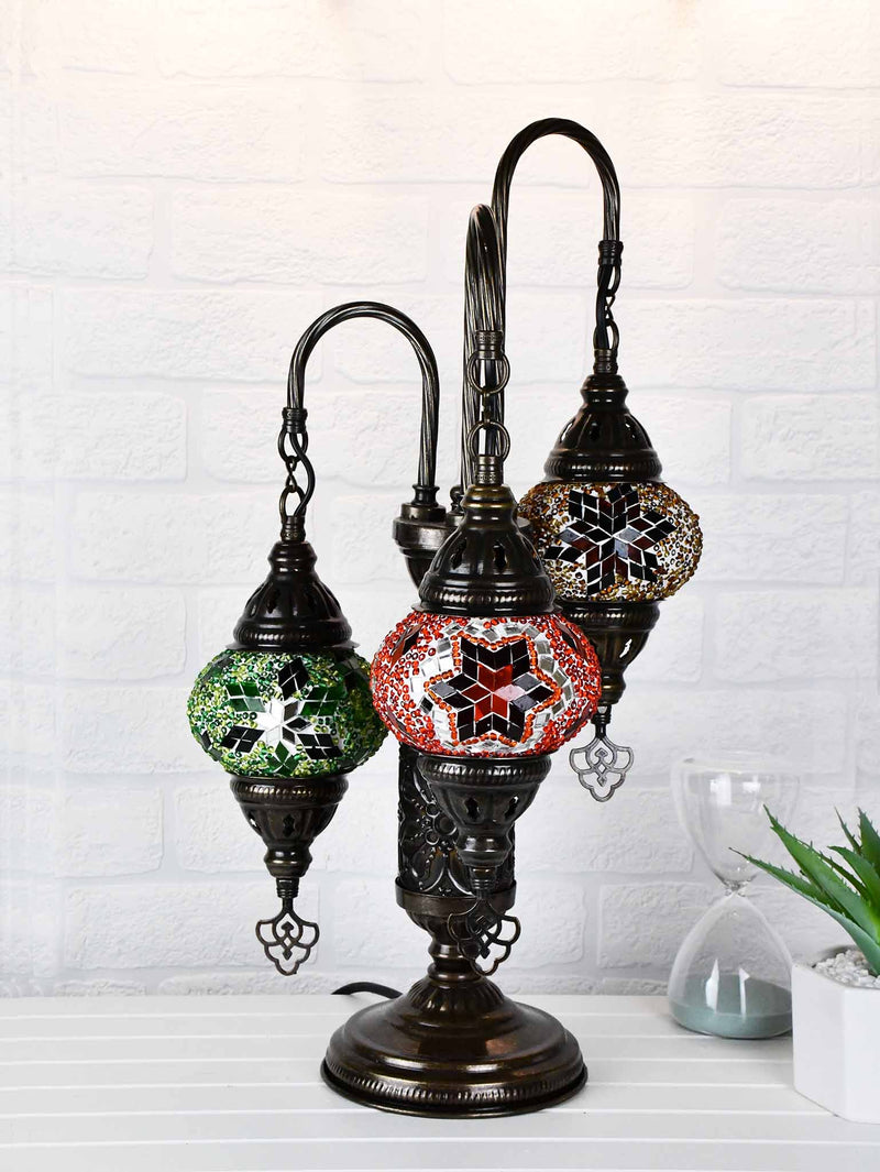 Turkish Mosaic Table Lamp Triple X Small Mixed Design 2 Lighting Sydney Grand Bazaar