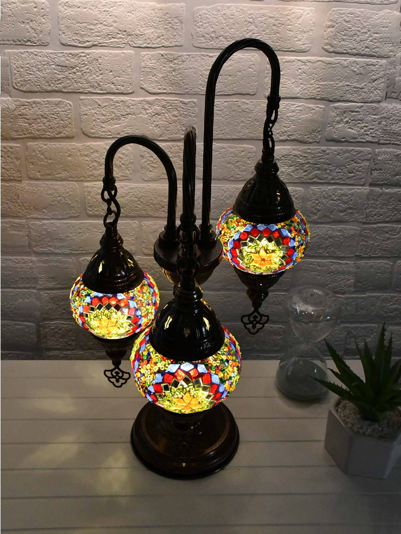 Turkish Mosaic Table Lamp Triple X Small Multicolour Red Green Lighting Sydney Grand Bazaar