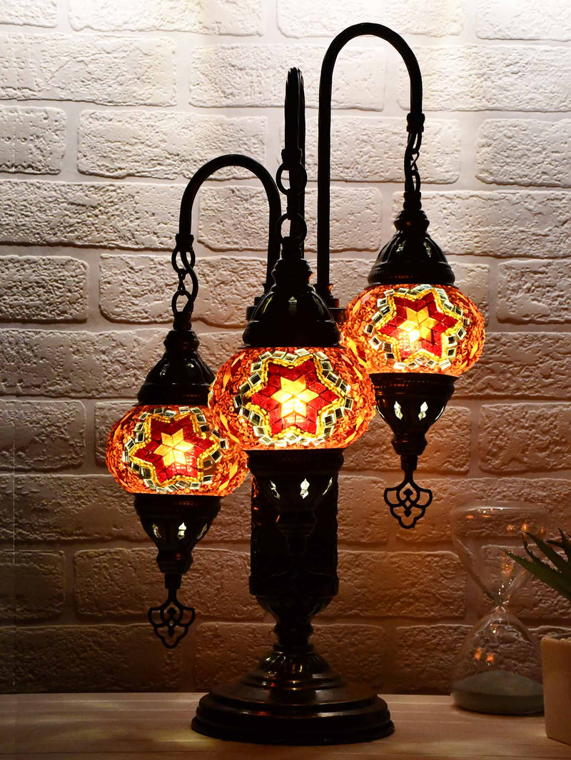 Turkish Mosaic Table Lamp Triple X Small Multicolour Red Green
