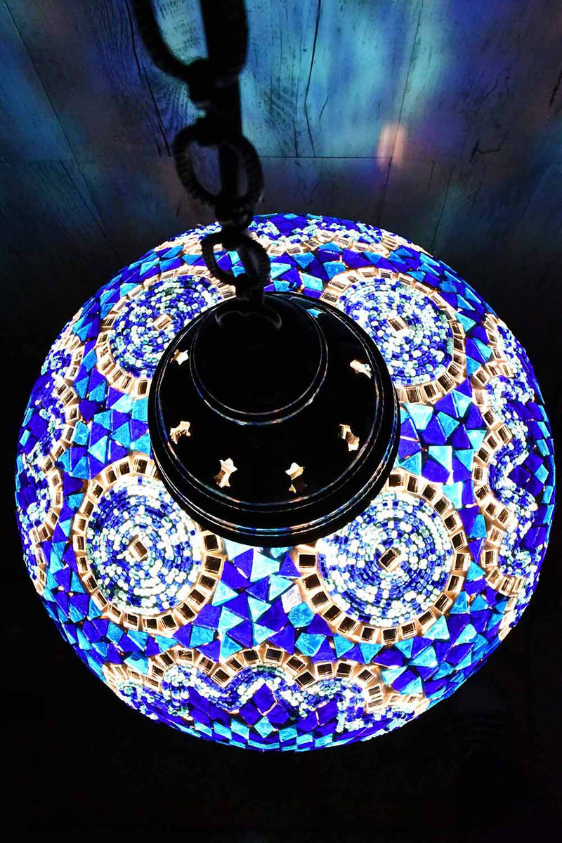 Turkish Pendant Light Blue Mosaic Star Circle B5 Lighting Sydney Grand Bazaar