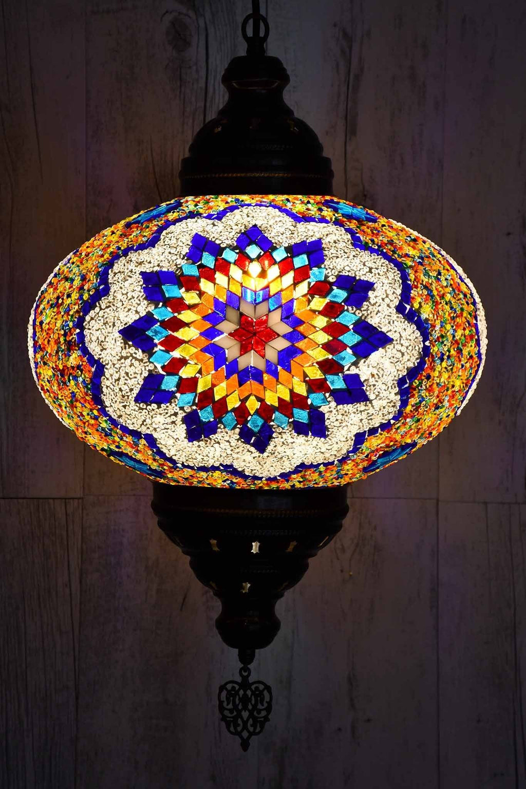 Turkish Pendant Light Multicoloured Blue Orange Star B5 Lighting Sydney Grand Bazaar