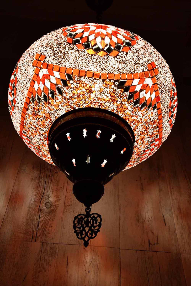 Turkish Pendant Light Red White Star B5 Lighting Sydney Grand Bazaar