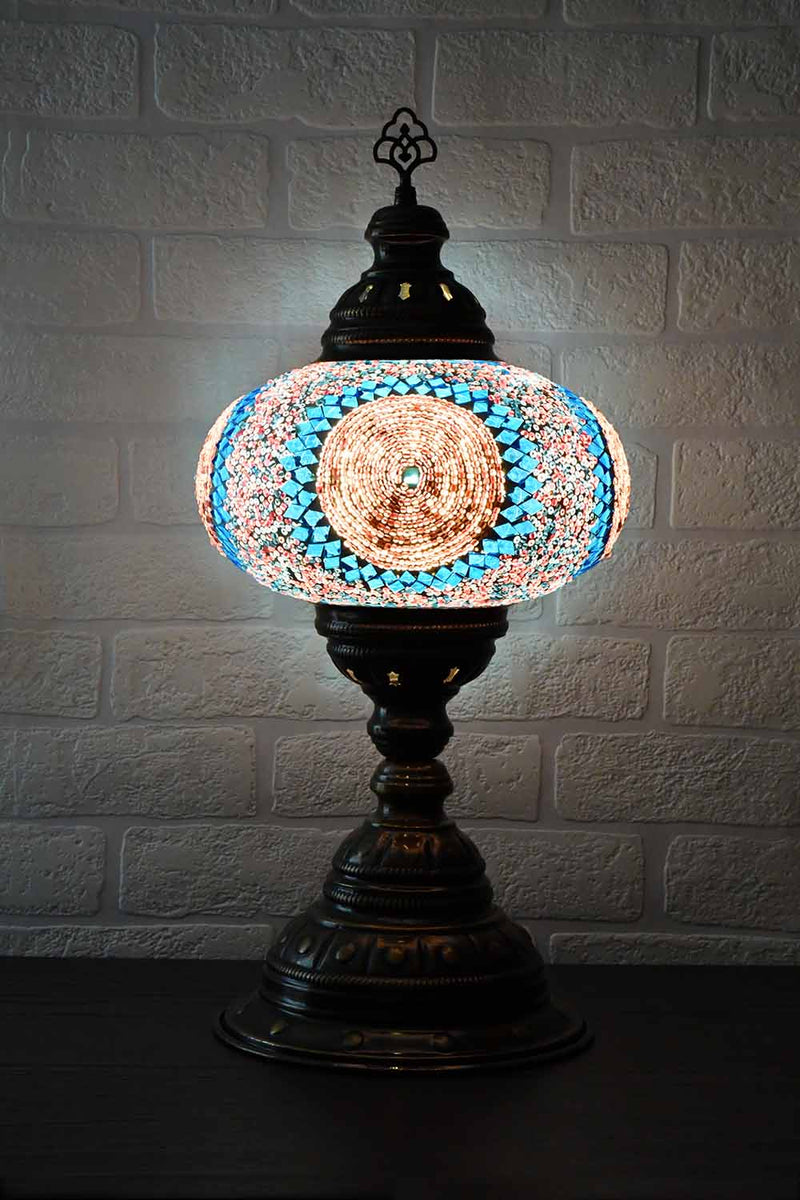 Turkish Table Lamp Large Aqua Pink Round Lighting Sydney Grand Bazaar