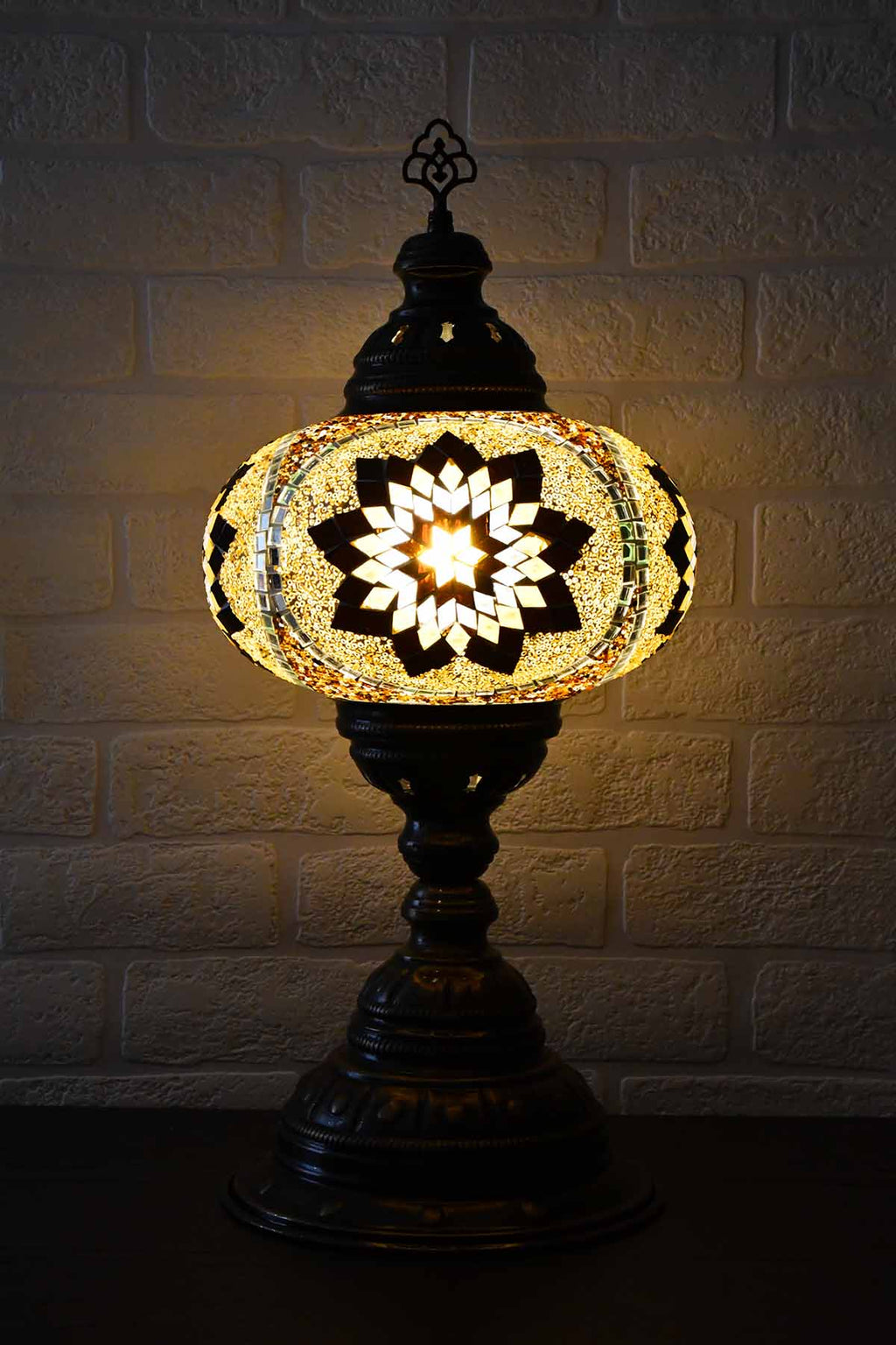 Turkish Table Lamp Large Brown Exclusive Star Lighting Sydney Grand Bazaar