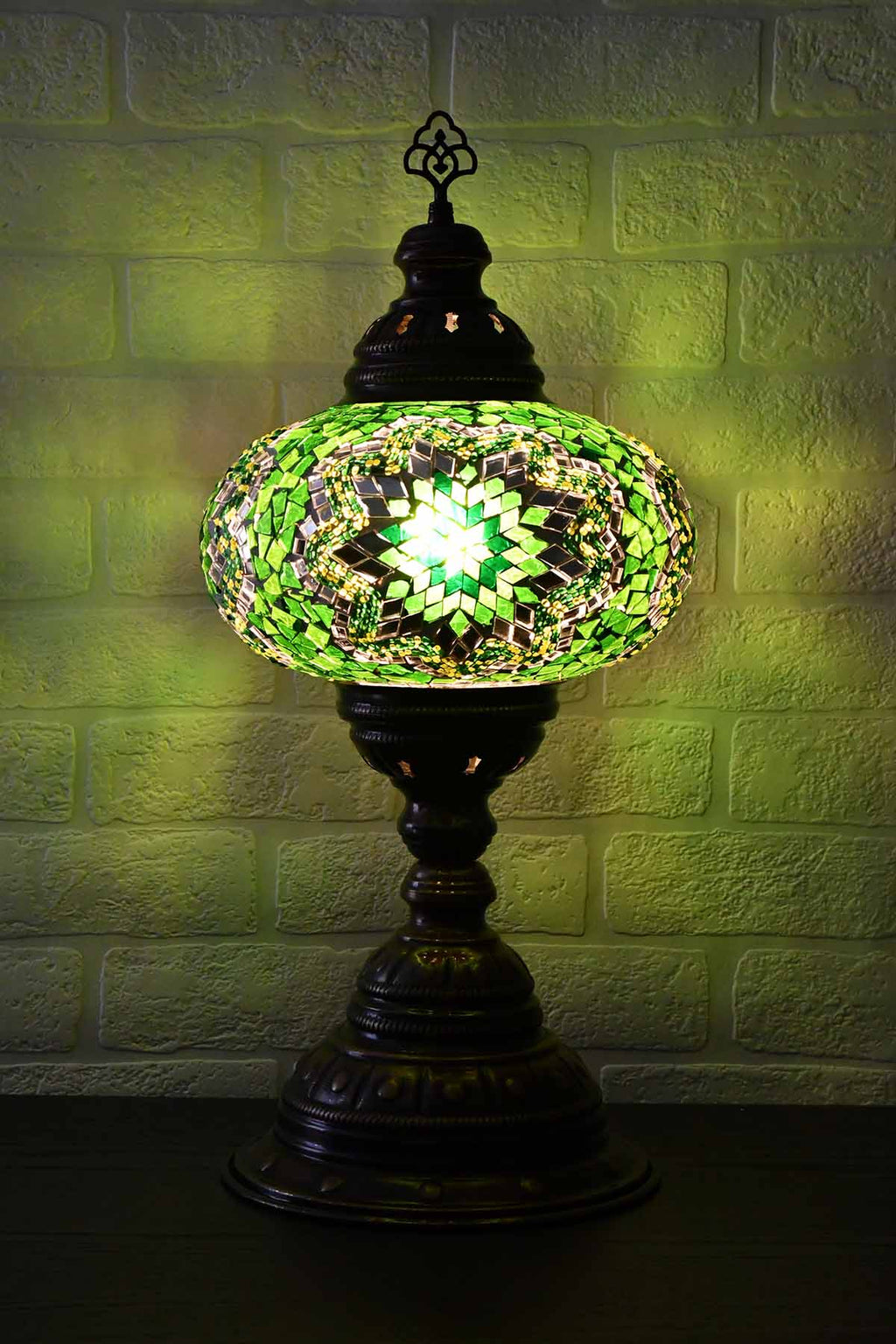 Turkish Table Lamp Large Green Mosaic Star Lighting Sydney Grand Bazaar