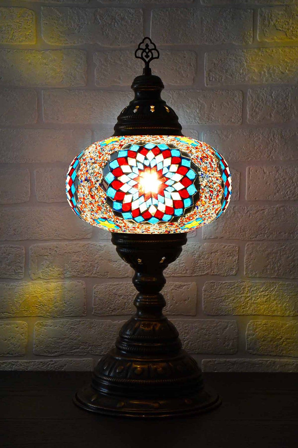 Turkish Table Lamp Large Multicoloured Aqua Red Lighting Sydney Grand Bazaar