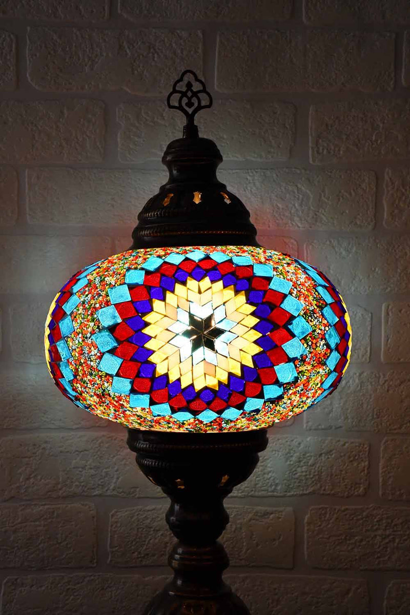 Turkish Table Lamp Large Multicoloured Aqua Red Star Lighting Sydney Grand Bazaar