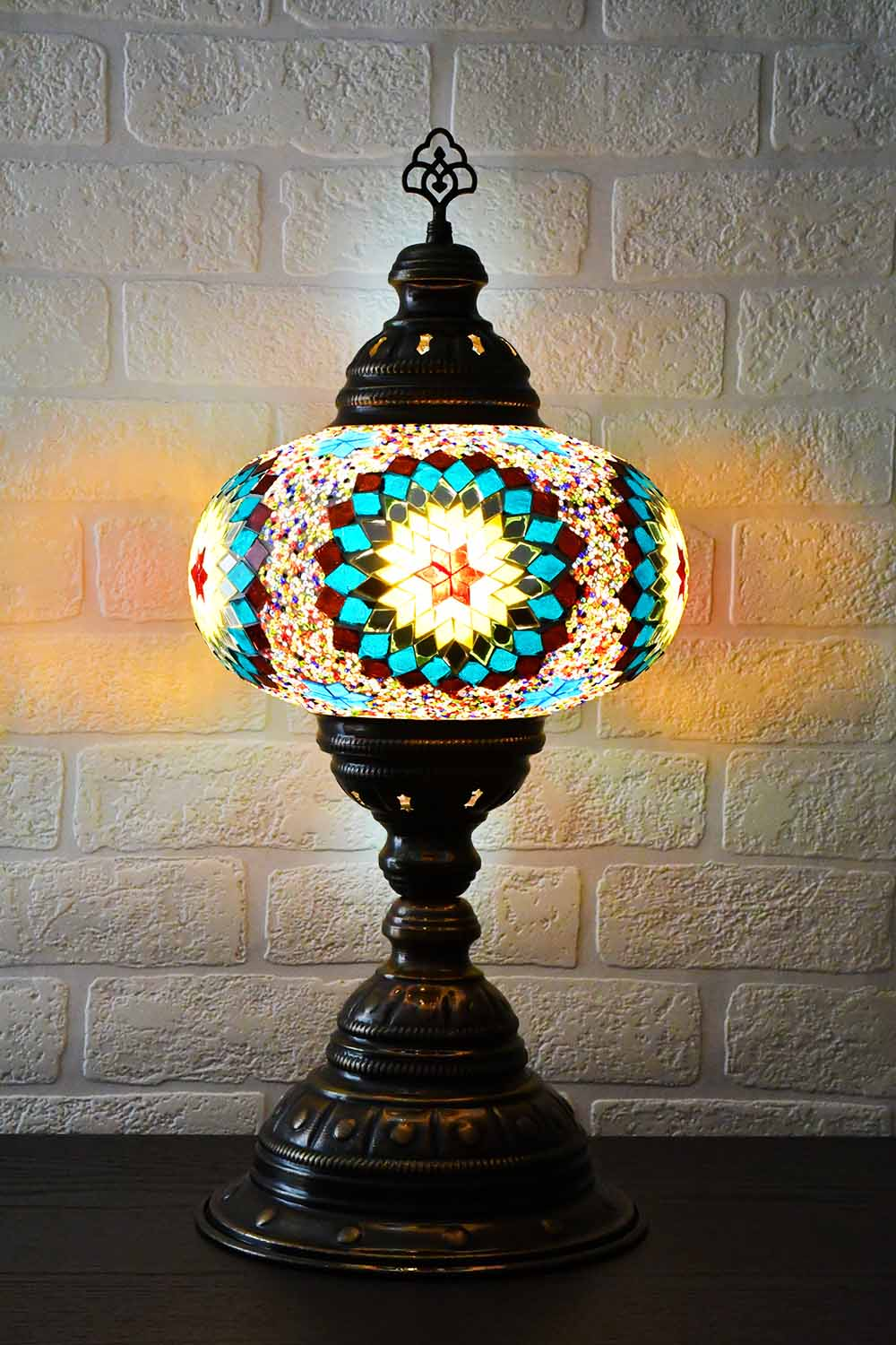 Turkish Table Lamp Large Multicoloured Aqua Round Star Lighting Sydney Grand Bazaar