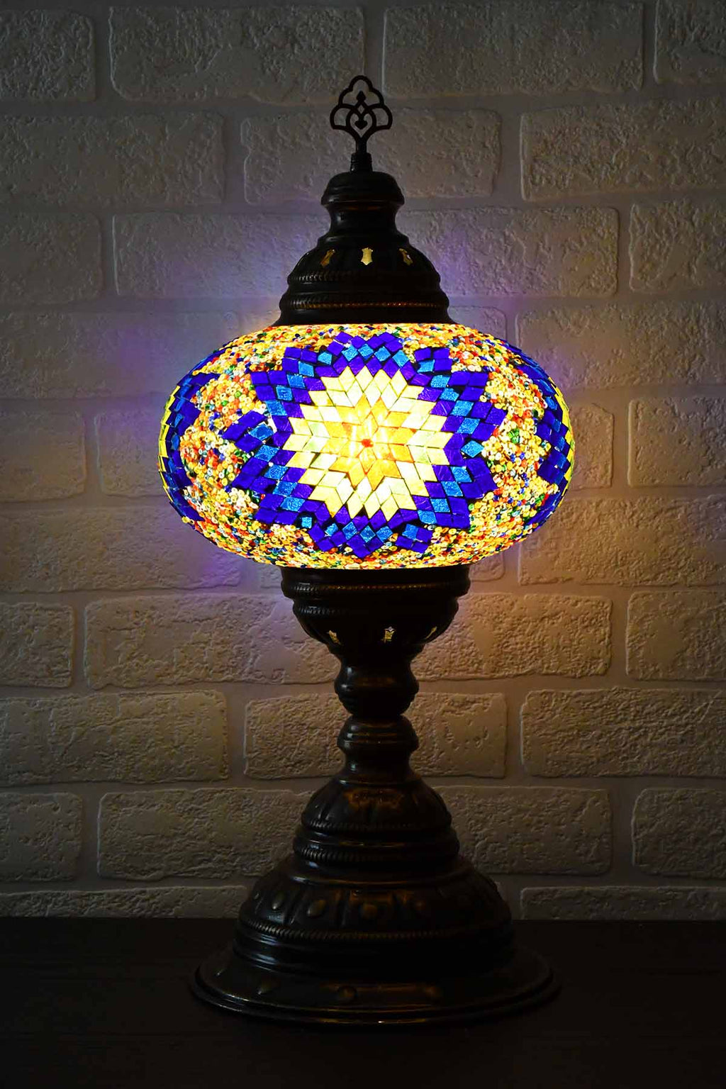 Turkish Table Lamp Large Multicoloured Blue Star Beads Lighting Sydney Grand Bazaar
