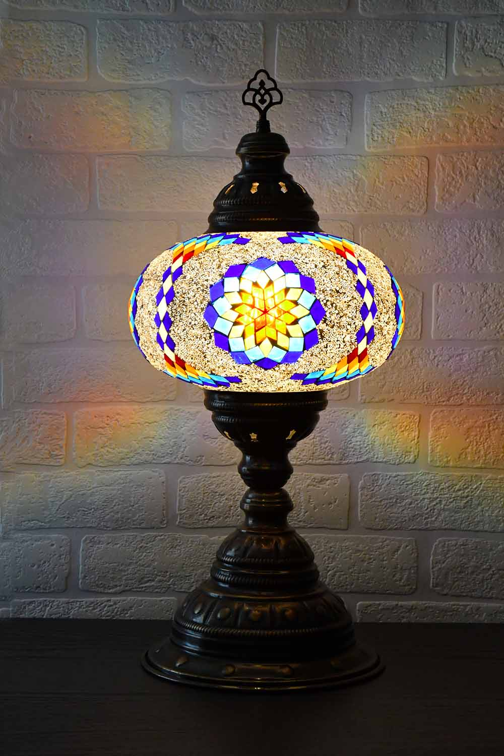 Turkish Table Lamp Large Multicoloured Fancy Star 2 Lighting Sydney Grand Bazaar